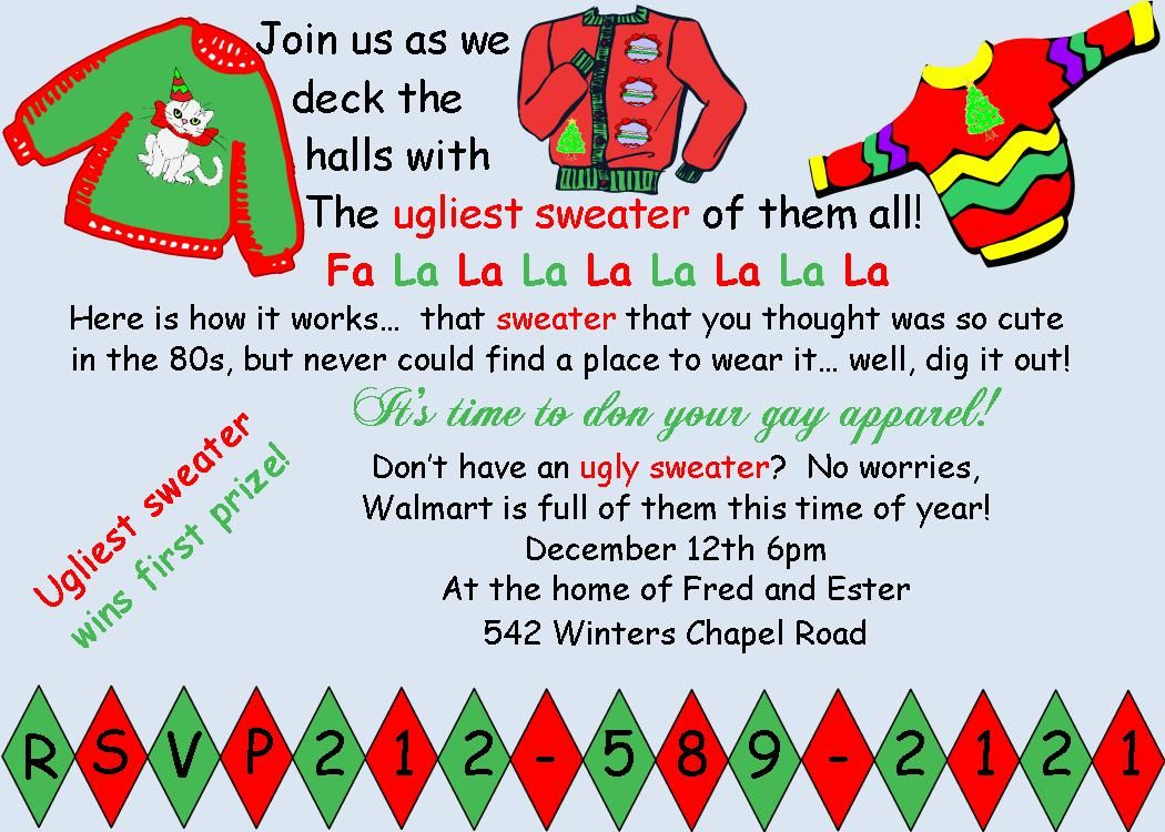 Ugly Sweater Christmas Party Invitations Fa La La La La  Ugly