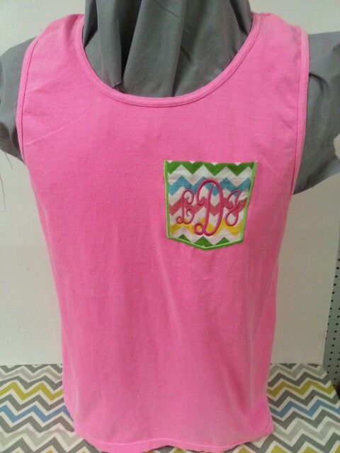 Comfort color tank with applique pocket and embroidered initials are great  for spring break. Order