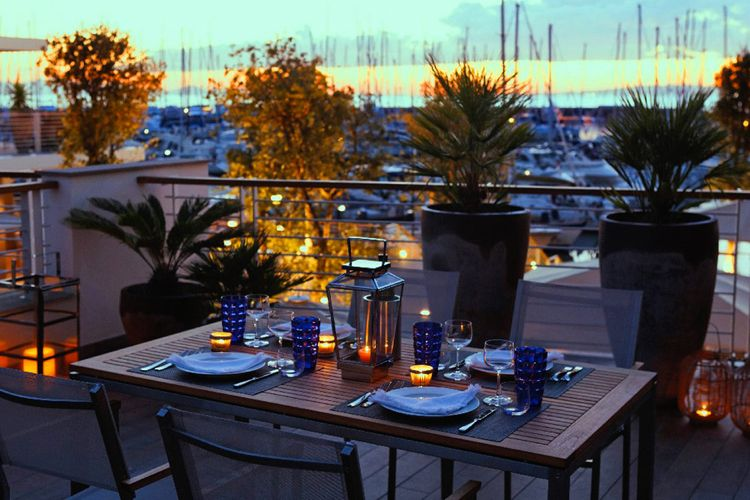 Dining with view of marina