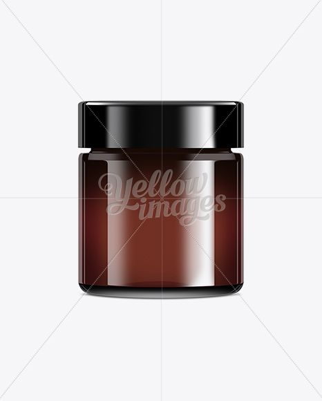 Dark Brown Glass Jar With Plastic Lid 100ml Mockup