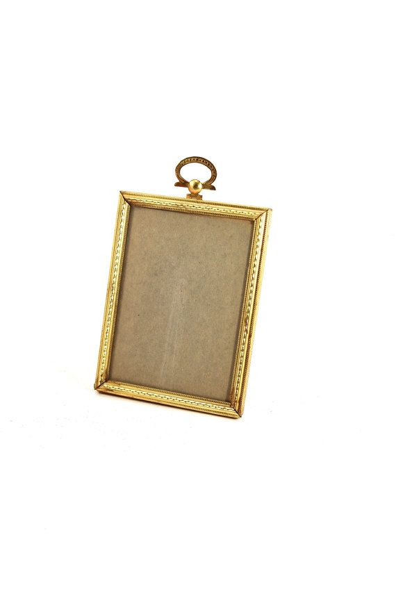 Vintage 3x4 picture frame - empty, gold, metal, table stand, school ...