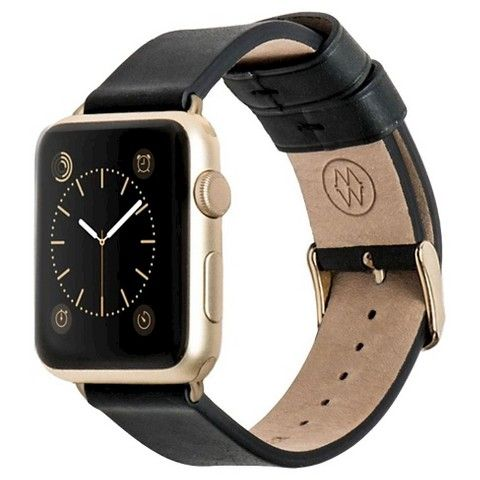 Monowear Black Leather & Yellow Gold Band Apple watch