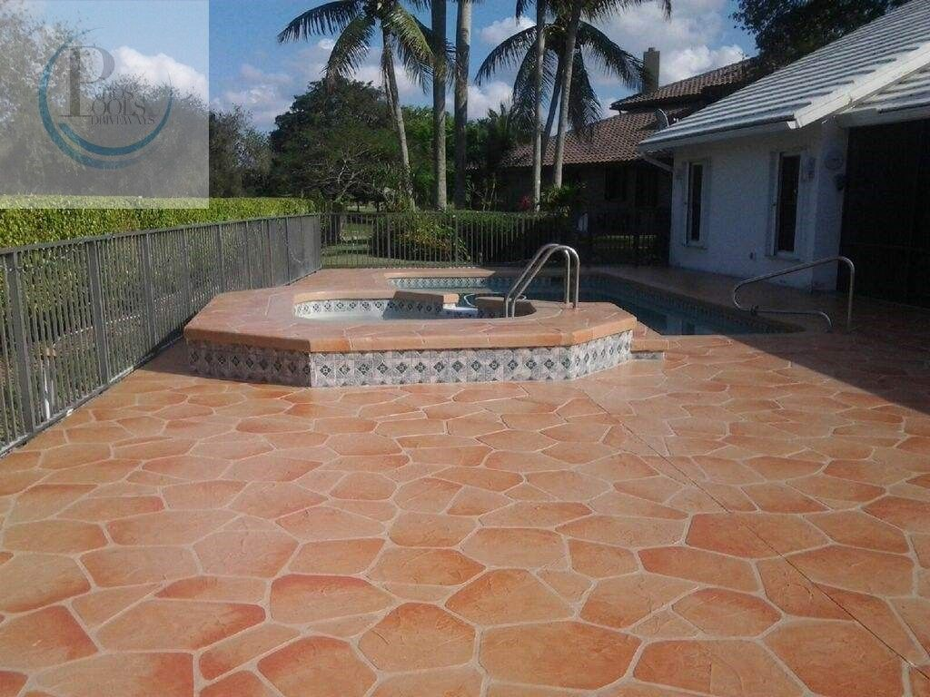 decorative concrete overlay work for a residential pool deck