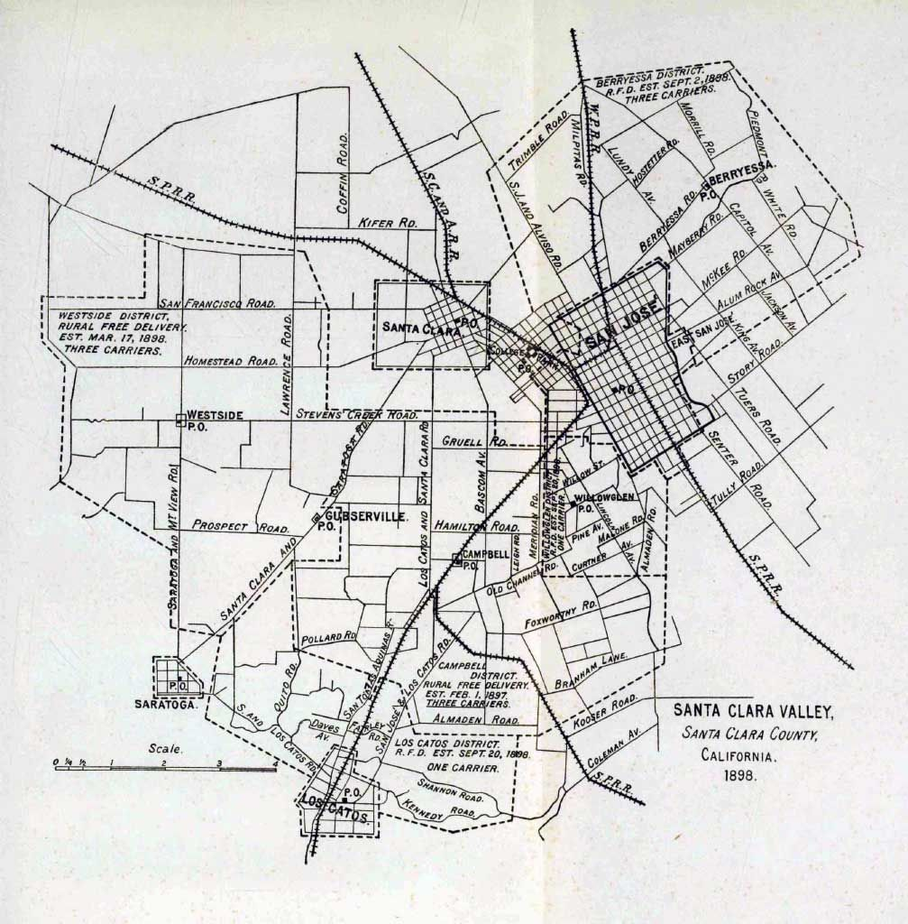A map of central Santa Clara County in 1898 The SOuthern Pacific