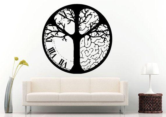 tree half analog clock half a brain in one circle wall decal vinyl