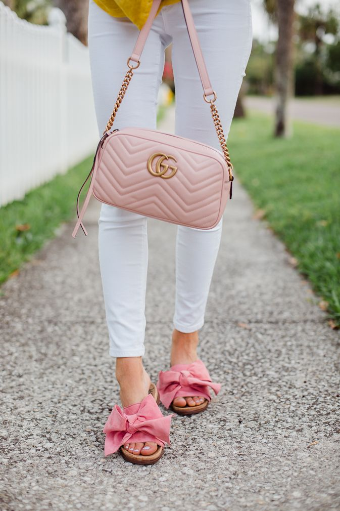 763a2f85e gucci marmont matelasse crossbody bag, travel style, pink, spring style,  white denim