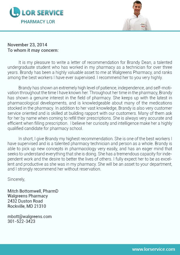 Pin By Lor Service On Pharmacy Letter Of Recommendation Sample
