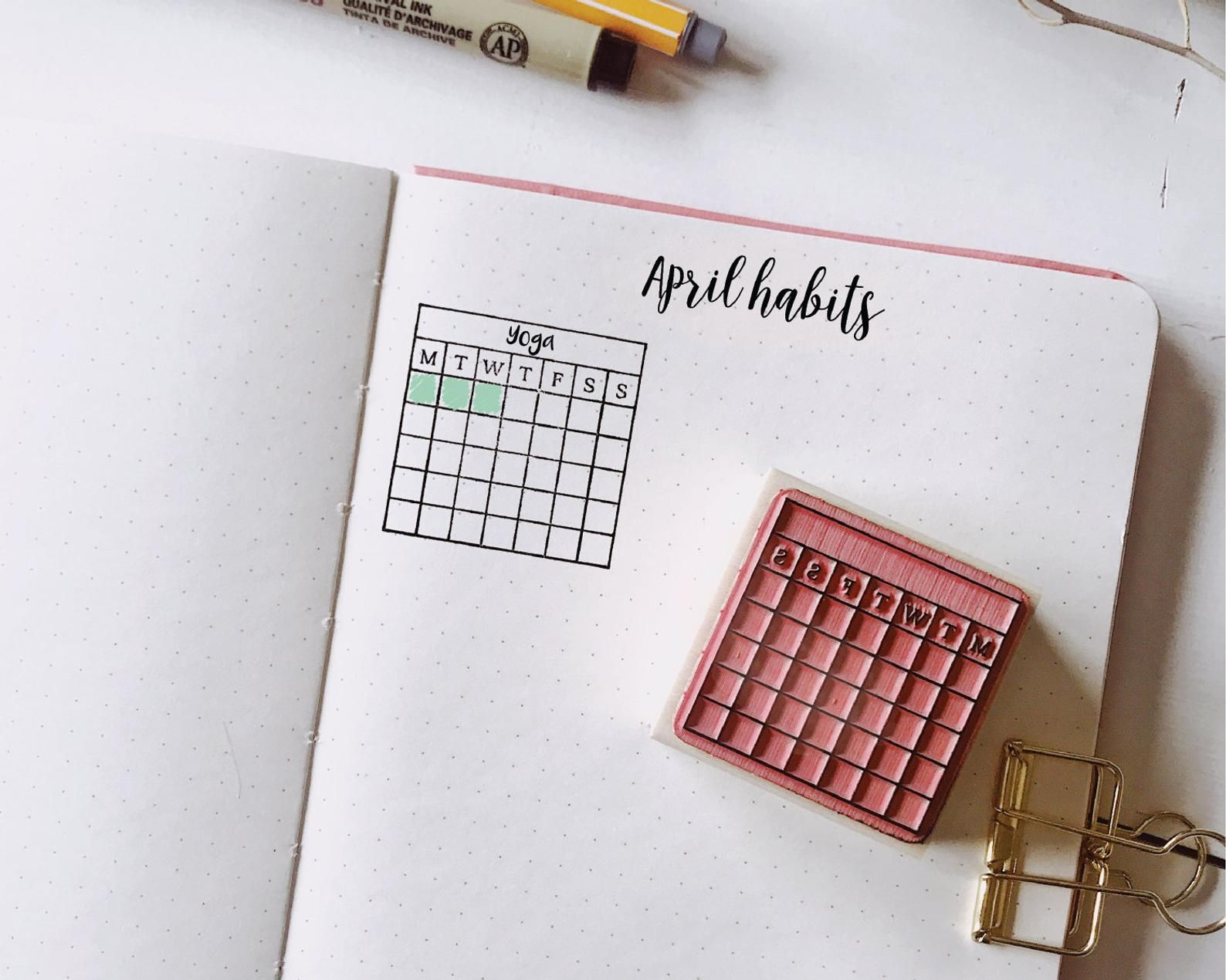 Bullet Journal Stamp Monday Start Monthly Habit Tracker Etsy In 2020 Calendar Stamps Bullet Journal Month Habit Tracker