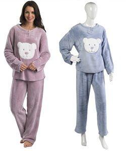 8d1bfe1e0a Ladies Slenderlla Pyjama Set Teddy Bear Design Thick Polar Fleece Loungewear