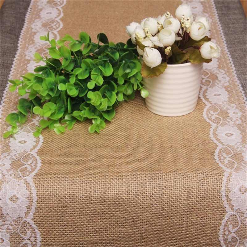 Vintage Burlap Lace Table Runner