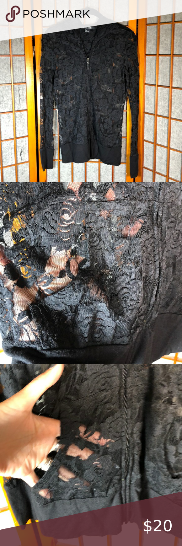 Gothic forever 21 gothic sheer lace hoodie Very cool romantic hoodie. This is an older piece that has been living in my closet a while. Perfect condition. It's the most amazing hoodie for dressing up  #goth #gothic #witch #festival Forever 21 Tops Sweatshirts & Hoodies