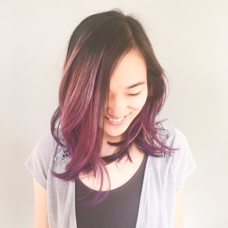 Sometimes you just have to go for it #purplehair #balayage #ombrehair #purplebalayage