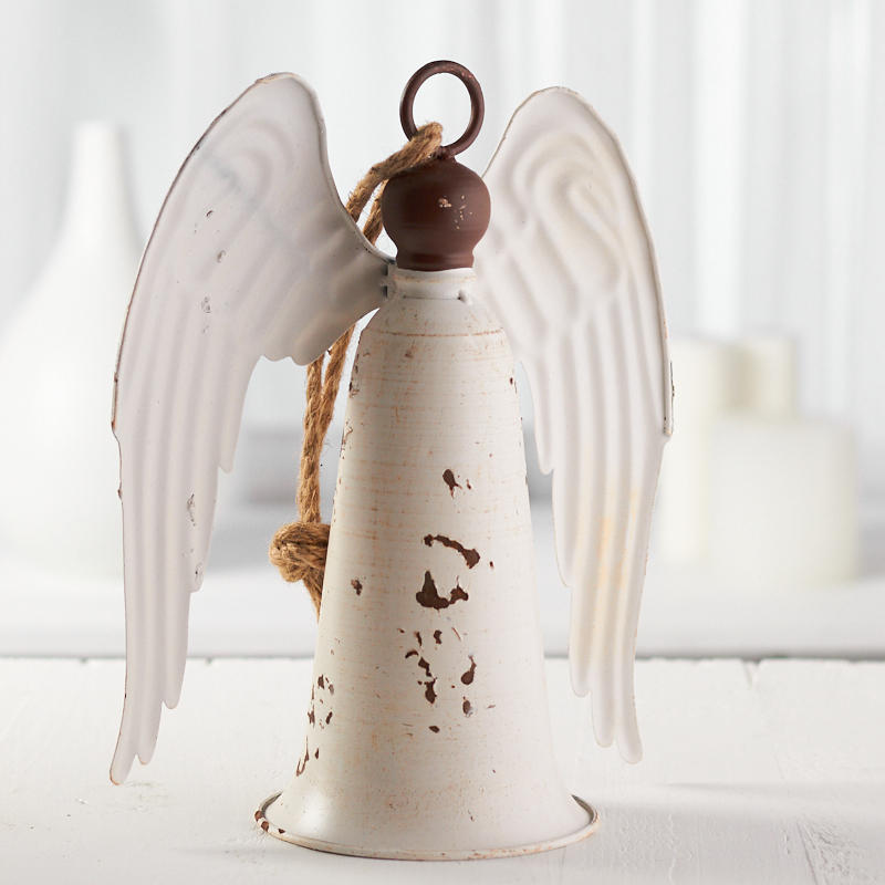 Rustic White Angel Bell Ornament Table Decor Christmas And Winter Holiday Crafts Rustic White Winter Holiday Crafts Scandi Christmas Decorations