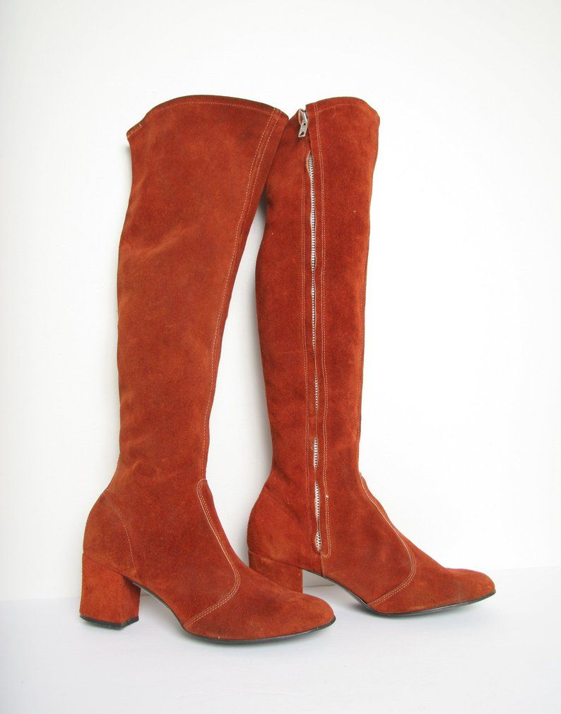 60s 70s Knee High Suede Go Go Boots