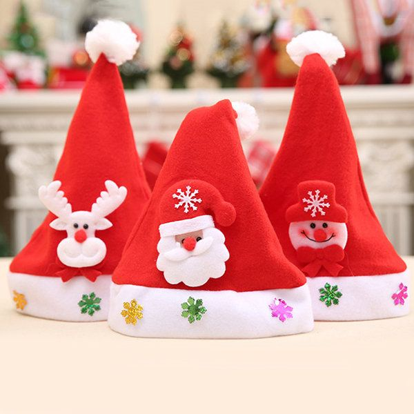 1535eda2e82a1 Kids Cute Cartoons Christmas Hats Santa Claus Cap Merry Christmas  Decoration Christmas Gift