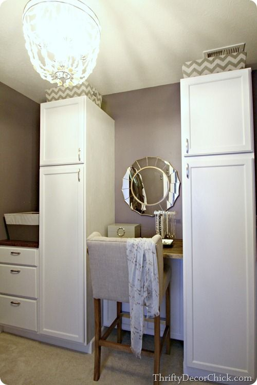 A total Master Closet transformation using kitchen cabinets DIY