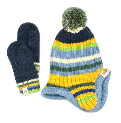 8d3266c6c0bd0 NEW Ugg Australia Knitted Kids Winter Hat Scarf Box Boys Set Blue  Multicolour Size S 4-6 years