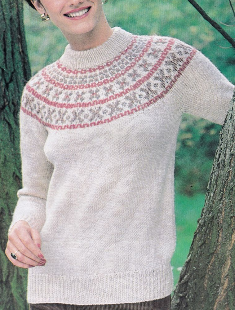 Vintage Knitting Pattern Instructions Ladies Fair Isle Yoke Jumper ...