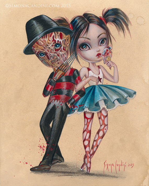 Freddie And Nancy LIMITED EDITION print signed numbered Simona Candini Art  Lowbrow pop Surreal Hall