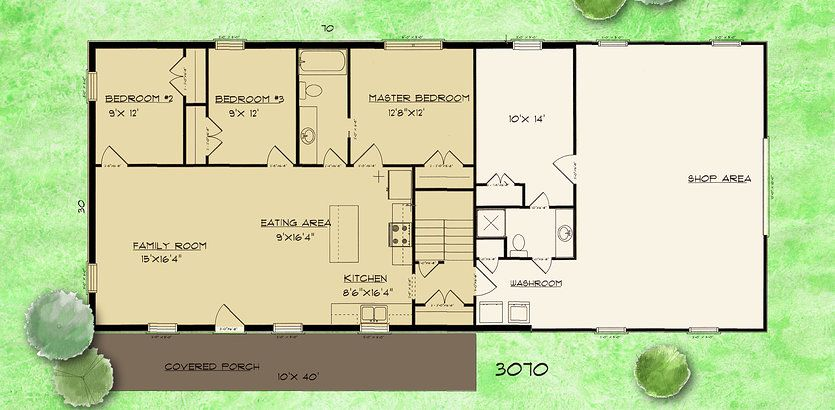 Barndominium house plans barndominium plan 3 bedroom 1 5 for House shop combo floor plans