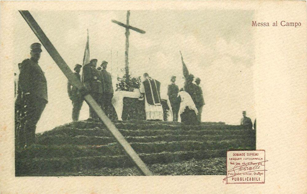 Postcard Italy war photographic censorship field mass Messa al Campo