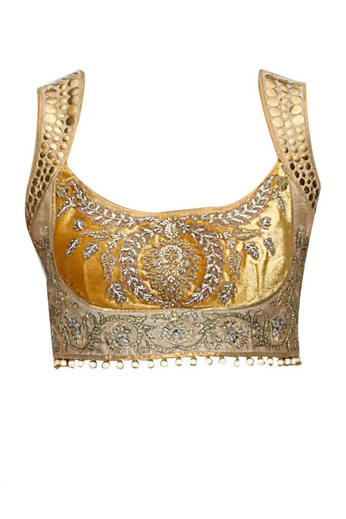 Golden designer saree blouse with zari neck, prince cut ...