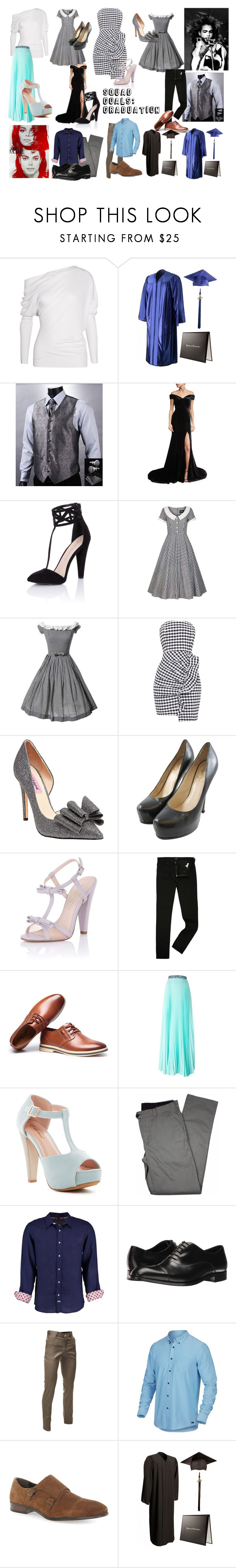 """""""Squad Goals: Graduation"""" by ruby-lioness ❤ liked on Polyvore featuring Tom Ford, Rachel Gilbert, Little Mistress, Collectif, Betsey Johnson, Yves Saint Laurent, Paper Dolls, Lee, Christopher Kane and Top Moda"""