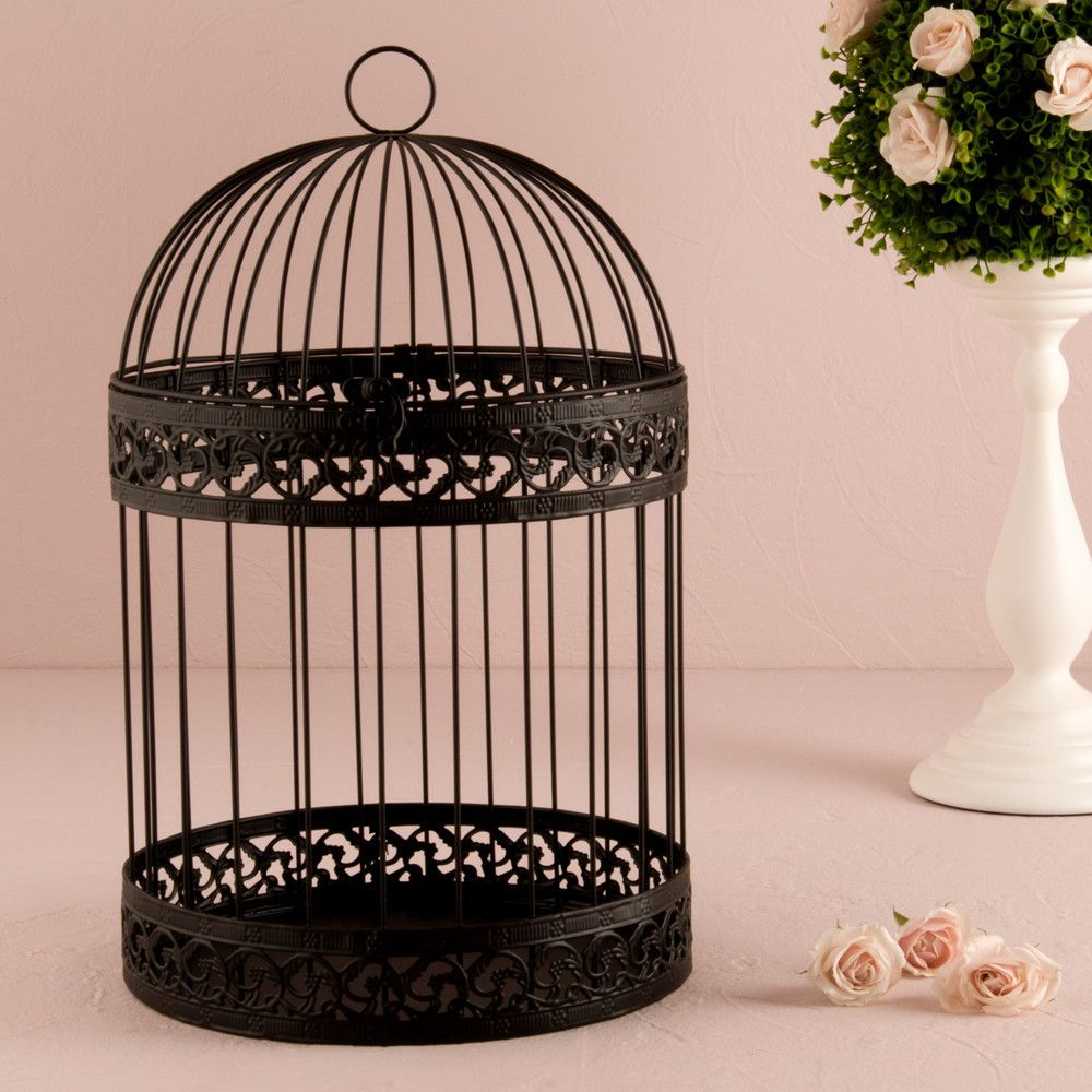Classic Round Decorative Birdcage Black Whits Garden Grad Party