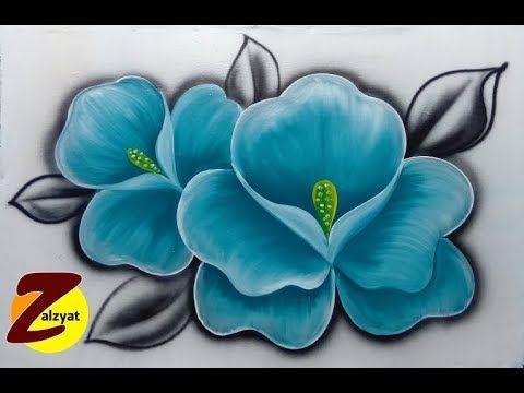 طريقة رسم وردة بلون تركواز بطريقة سهلة جدا Youtube Acrylic Art Art Painting
