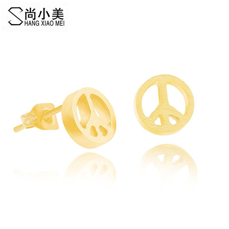 everyday tokens stud earrings gold small little jewelry peace sign