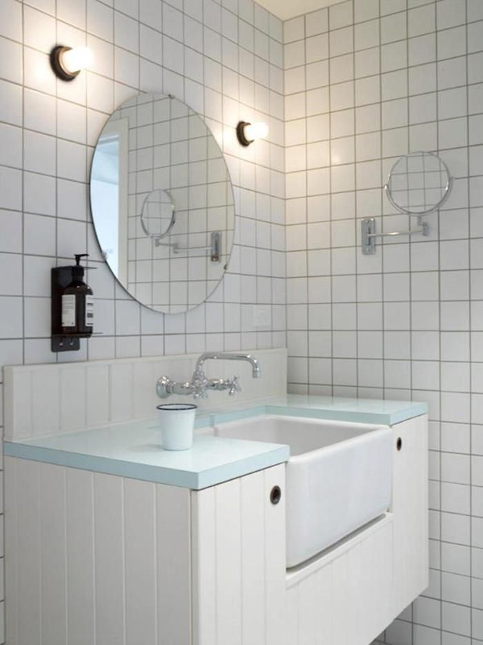 the oyster inn three guest rooms on a remote island in new zealand minimal bathroombathroom modernbathroom ideaswhite tile - White Square Bathroom Tile