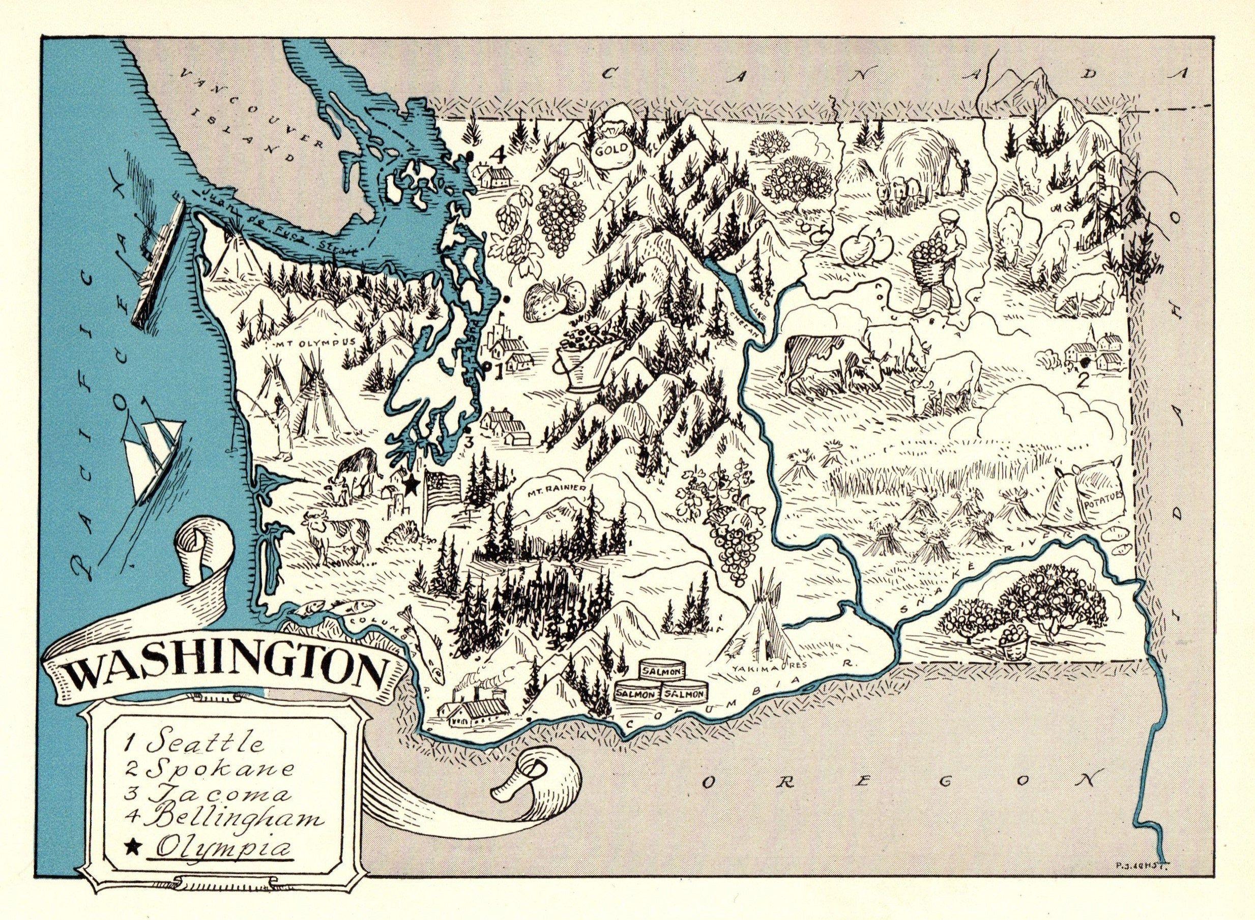 1930s Antique Animated Washington State Map Blue Cartoon Map Of Washington Wall Art Housewarming Gift For Anniv Washington Map Cartoon Map Washington State Map
