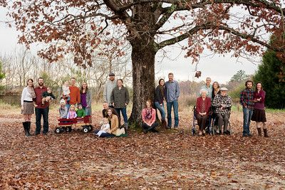 Large Family Photo Idea Outdoor Casual Fall Multiple Families