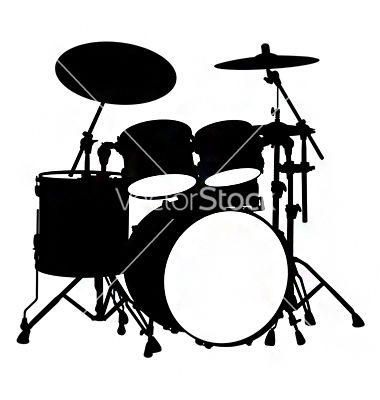 Drum Kit Silhouette Vector Art Download Vectors 694847 Drums Drum Set Drums Art