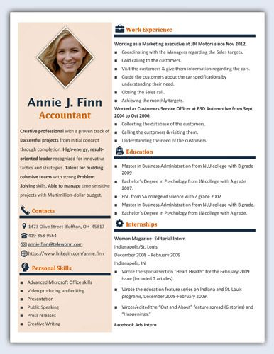 Contemporary Word Resume Template with left sidebar
