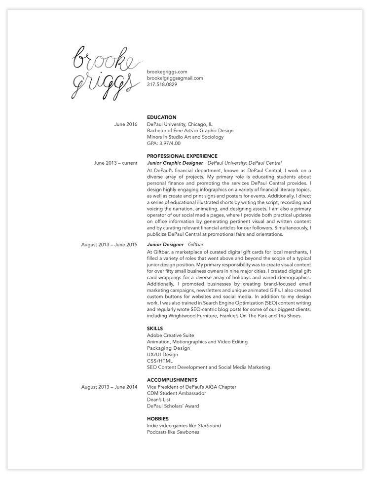 Brooke Griggs Resume Portfolio/Resume Pinterest Brooke d\u0027orsay