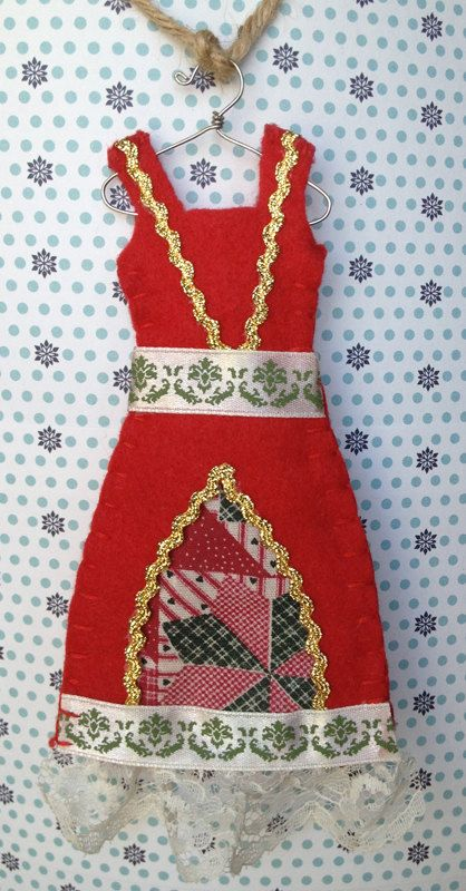 Red Felt Holiday Dress Ornament