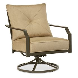 Garden Treasures Vinehaven 2 Count Brown Steel Swivel Rocker Patio Conversation Chairs With Tan Cushions Fzs80334s