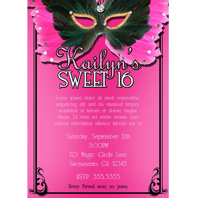 Masquerade Sweet Invitations Template Best Template Collection - Sweet 16 party invitation templates