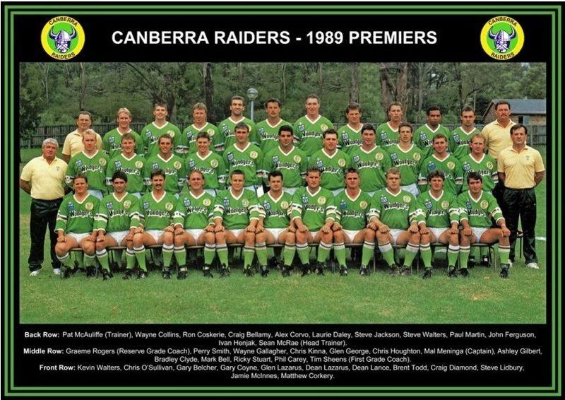 1989 Canberra Raiders Premiership Squad Raiders Nrl Rugby League