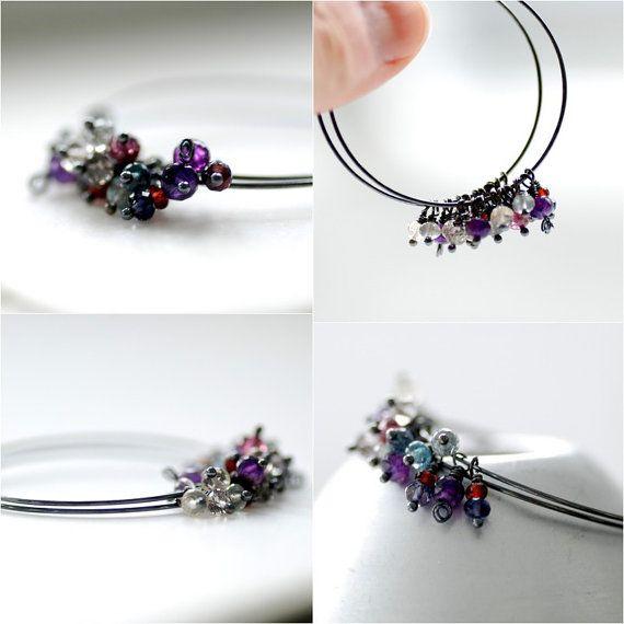 Gemstone Hoop Earrings Amethyst Garnet by WildWomanJewelry on Etsy, $32.00