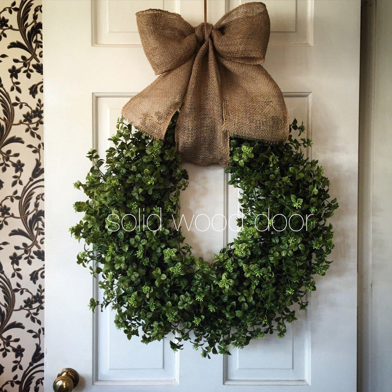 Spring Faux Boxwood Wreath Summer Boxwood Burlap Wreath