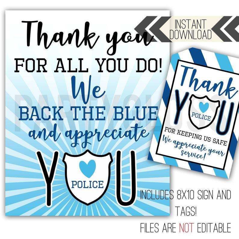 Police Appreciation Printables Police Tags Back The Blue Police Week Police Appreciation Sign Police Thank You Police Week Ideas Police Appreciation Police Week Ideas Appreciation Printable