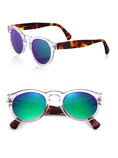 Illesteva - Leonard 48MM Clear & Havana Mirrored Sunglasses