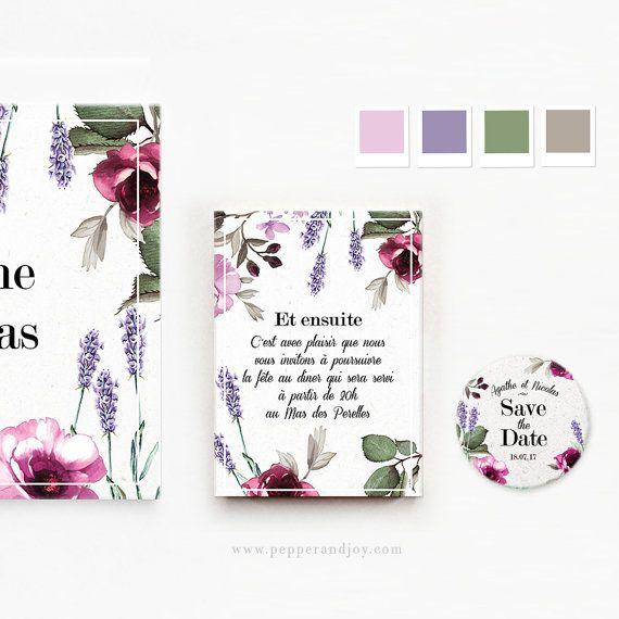 Faire-part mariage personnalisé avec fleurs de Provence, lavande et roses
