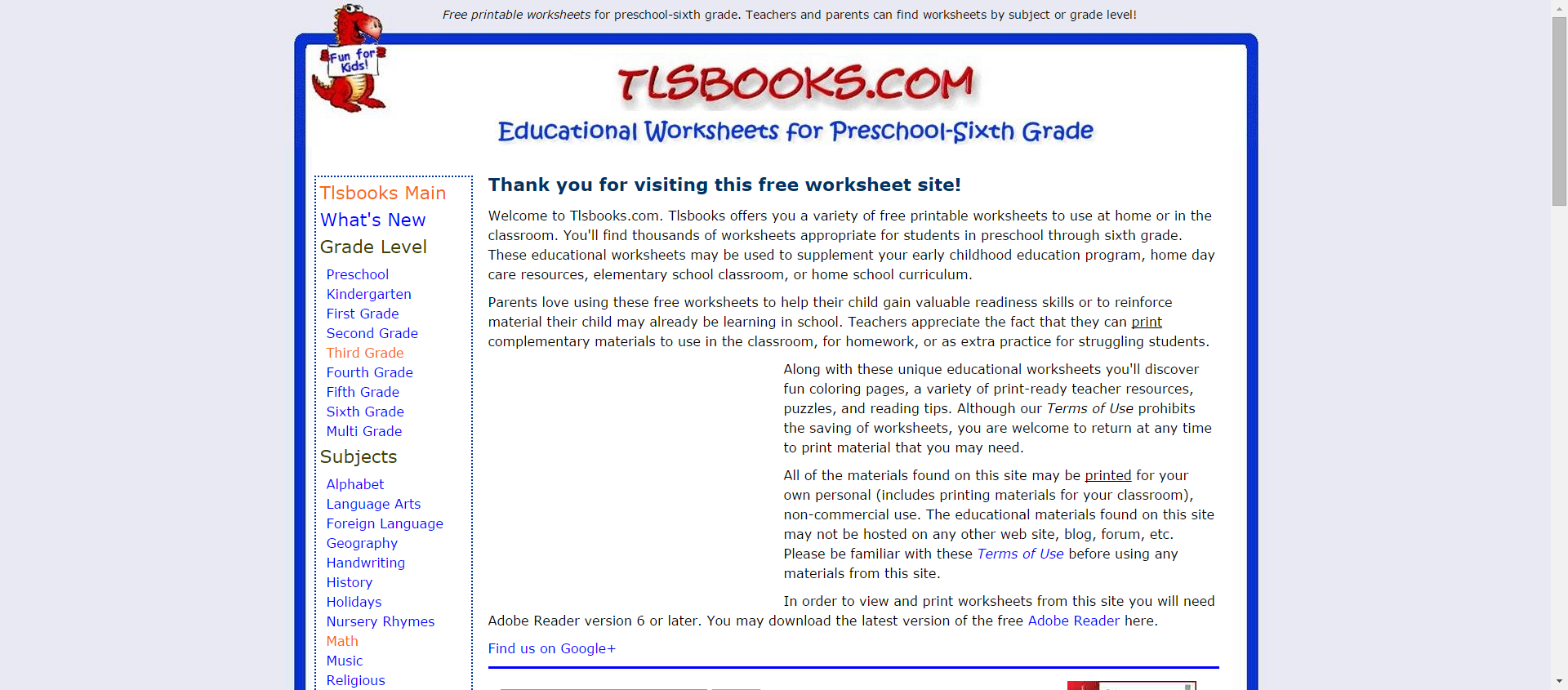 Tlsbooks Com Free Printable Worksheets For Preschool Sixth Grade In Math English And More Free Printable Worksheets Sixth Grade Printable Worksheets