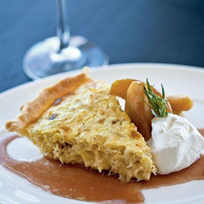 Dungeness Crab Pie with Braised Apples and Meyer Lemon Crème Fraîche