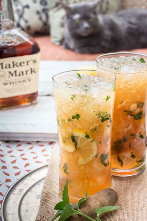 This Kentucky bourbon drink, garnished with mint leaves, is almost too pretty to drink. Get the recipe at Southern Fatty.