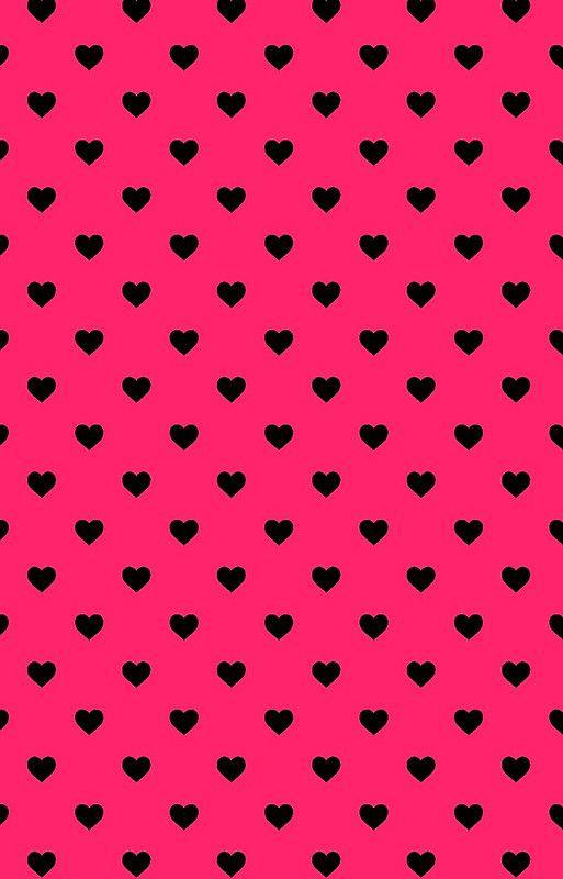 Black polka dot hearts on hot pink background honor obey wedding black polka dot hearts on hot pink background voltagebd Image collections