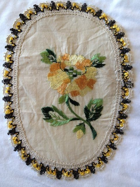 Vintage Doily Oval with Embroidered Marigold Flower by PenguinAndFlamingo, $8.00